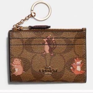 Coach Mini Skinny ID Wallet Keychain Party Animal